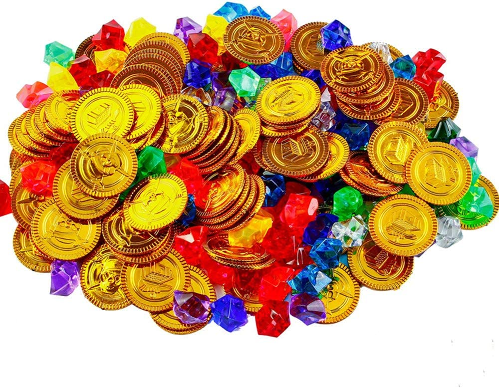 Rmeet Monedas Doradas de Pirata y Piedras Preciosas,72 Pack Plastico Monedas de Oro + 72 Pack Piratas Gemas de Pirata Conjunto para niños Juegos para Niños Infantiles