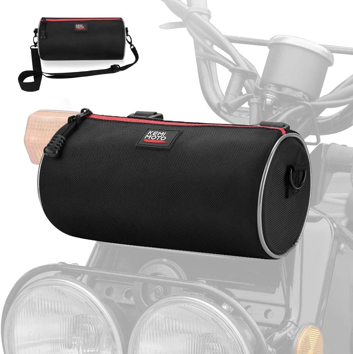 Black Motorcycle Fork Tool Barrel Bag with Shoulder Straps Water Resistant Front Frame Tank Bag Large Capacity Kemimoto Universal Motorcycle Handlebar Bag