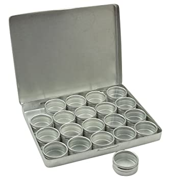 Amazoncom 20 Pieces Clear Top Round Aluminum Storage Container Set