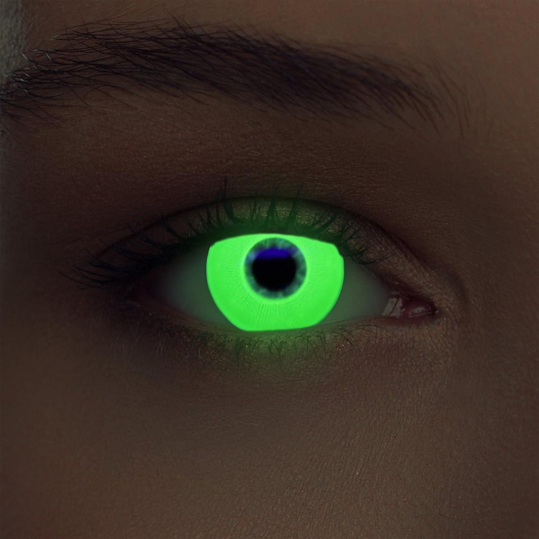 "Designlenses, Dos luminoso (debajo luz negra) UV lentillas de fluorescente colores verde relumbrar costume lentes sin dioprtías/corregir + gratis caso de lente ""Glowing Green"