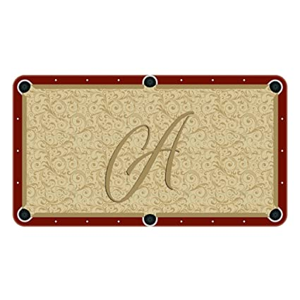 Tan Paisley Monogram Billiard Cloth Pool Table Felt Letter: A