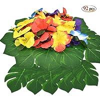 Xiuyer 92 Piezas Decoraciones de Fiesta Tropical Hojas