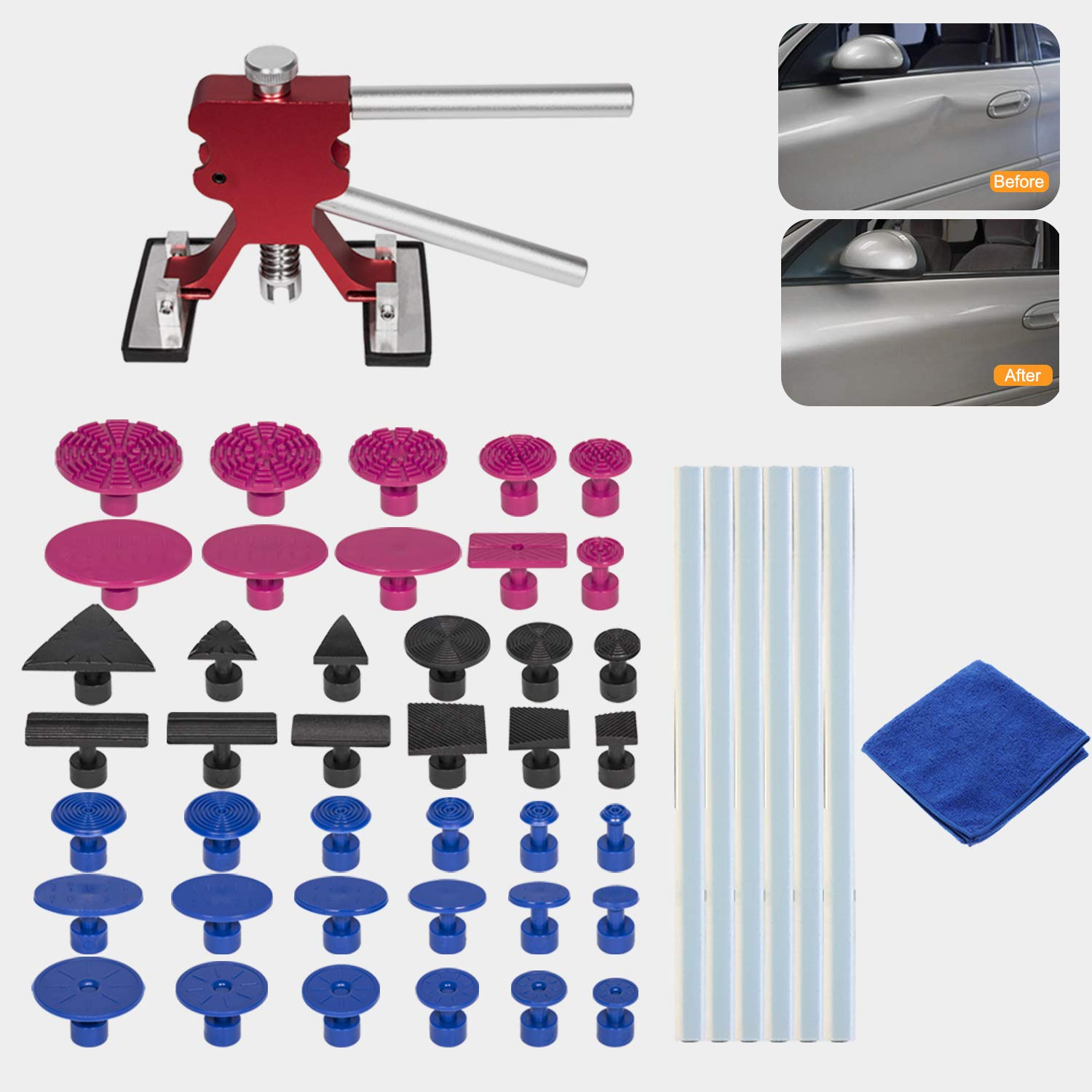 Glue Puller Tabs Car Dent Puller with Double Pole Bridge Dent Puller Minor dents Danti 48pcs Auto Body Repair Tools Door Dings and Hail Damage Glue Shovel for Auto Dent Removal