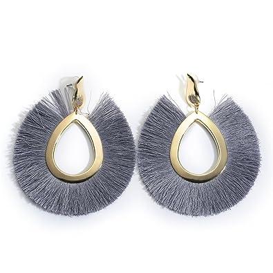 6cfbb9e57 MOOCHI Grey Women's Bohemian Tassel Hanging Fringe Fashion Oval Vintage  Earrings