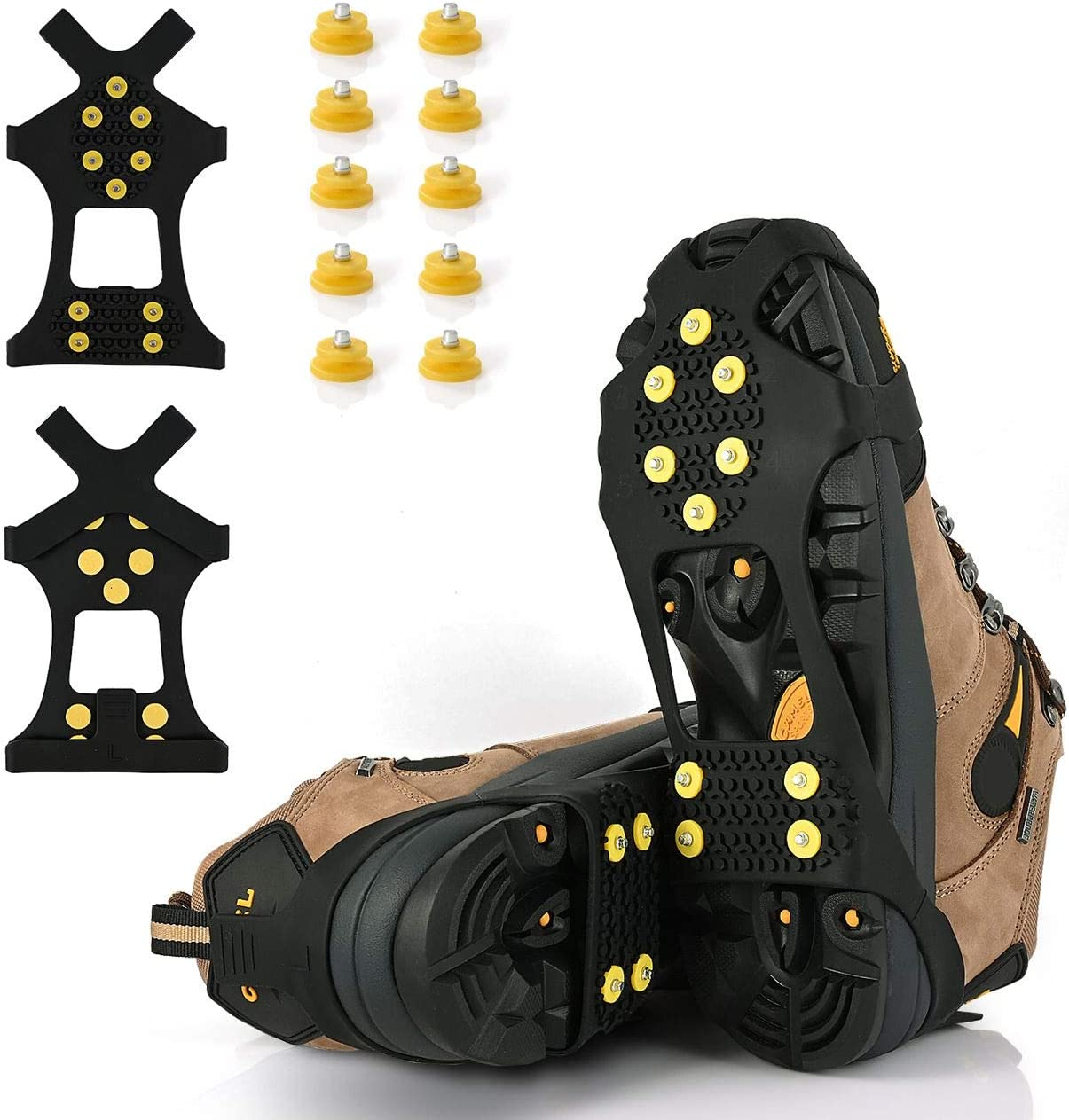 Netagon Winter Men Women Unisex Adults Studded Snow and Ice Over Shoe Grips with Anti Slip Grip Studs PAIR