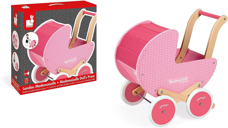 Janod Mademoiselle Cochecito de madera para muñecas (J05899)