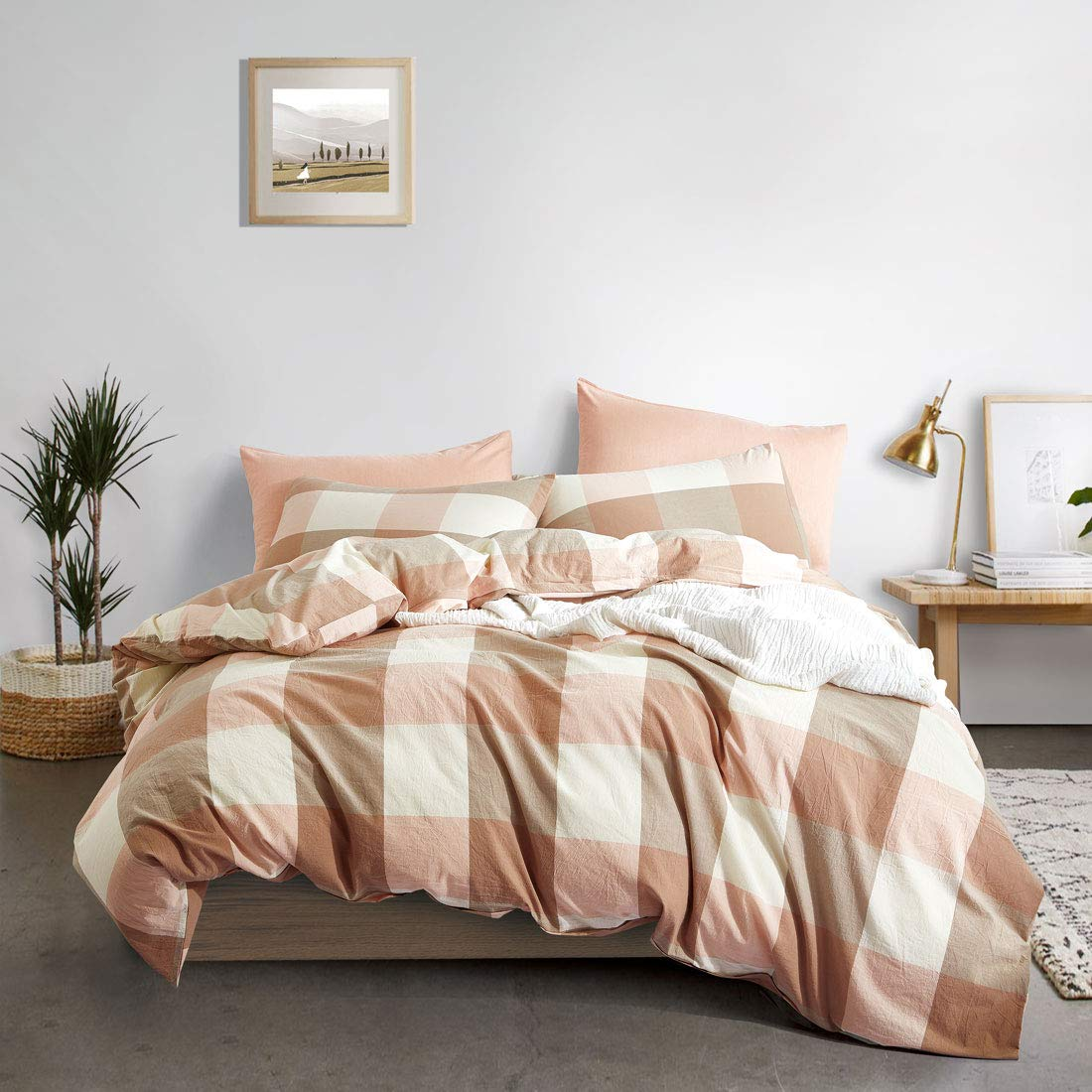 3-Piece Ultra Soft and Easy Care ATsense Duvet Cover Twin 100/% Washed Cotton Bedding Duvet Cover Set Simple Style Farmhouse Bedding Set White 7006-4