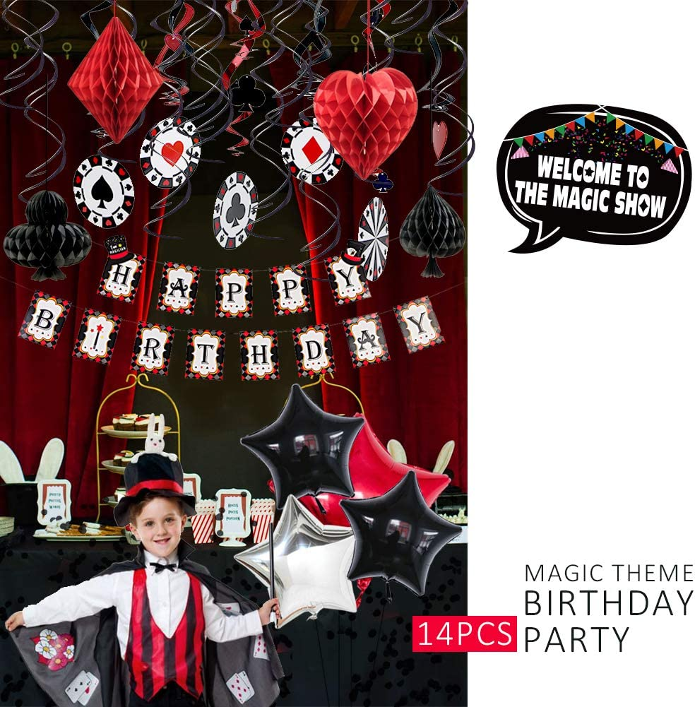 Magician Birthday Party Supplies Las Vegas Casino Poker Themed Party Paper Honeycomb Hanging Swirls Foil Balloons Black Confetti Kids Birthday Party Decorations SUNBEAUTY