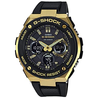 02dd97608d17 Casio G-Shock G-STEEL Series Solar Powered World Time Analog Digital Gold  Black