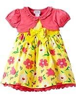 Blueberi Boulevard Girls Floral Print Sleeveless Dress Shrug Set, Yellow