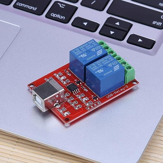 prettygood7 USB-Schaltrelais f/ür PC Ersatz-Fernbedienung 5 V, 2 Kan/äle