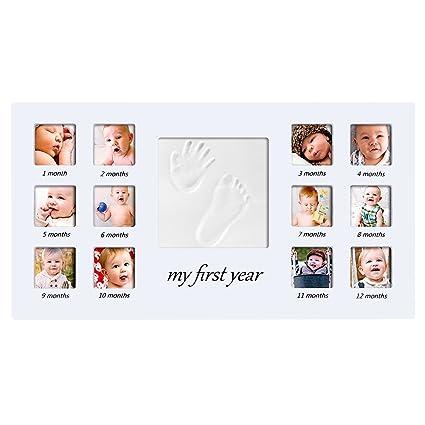 Marco de Huellas de Mano y pie de Bebé , Tatata Marco de Fotos para Bebé Regalo Recién Nacido para Niño y Niña Blanco