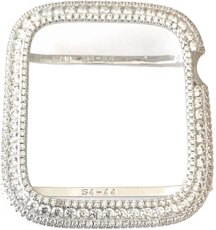 EMJ Bling Apple Watch Series 4 & 5 Bezel Case Face Cover Bumper Silver White Gold Zirconia Lab Diamond 40/44 mm