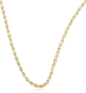 c5c090eb0b216 JOTW 10k Yellow Gold 3mm D-Cut Rope Chain Necklace - 18