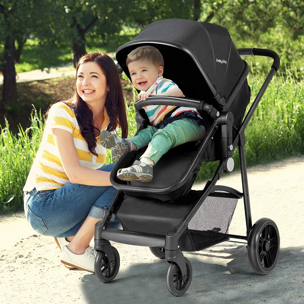 BABY JOY Baby Stroller, 2 in 1 Convertible Carriage Bassinet to Stroller, Pushchair with Foot Cover, Cup Holder, Large Storage Space, Wheels Suspension, 5-Point Harness, Deluxe Black by BABY JOY (Image #4)