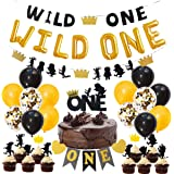 JOYMEMO Wild One Birthday Decorations for Boys Black and Gold Wild One Balloons High Chair Banner Cake Toppers 1st…