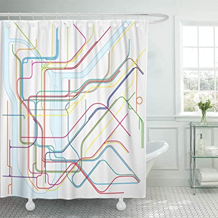 Ny Subway Map Shower Curtain.Amazon Com Emvency Shower Curtain 72 X 72 Inches Line Colored