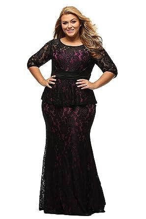 67547811621 Amazon.com  XAKALAKA Women s Round Neck Elegant Floral Lace Peplum Plus Size  Maxi Gown Dress  Clothing