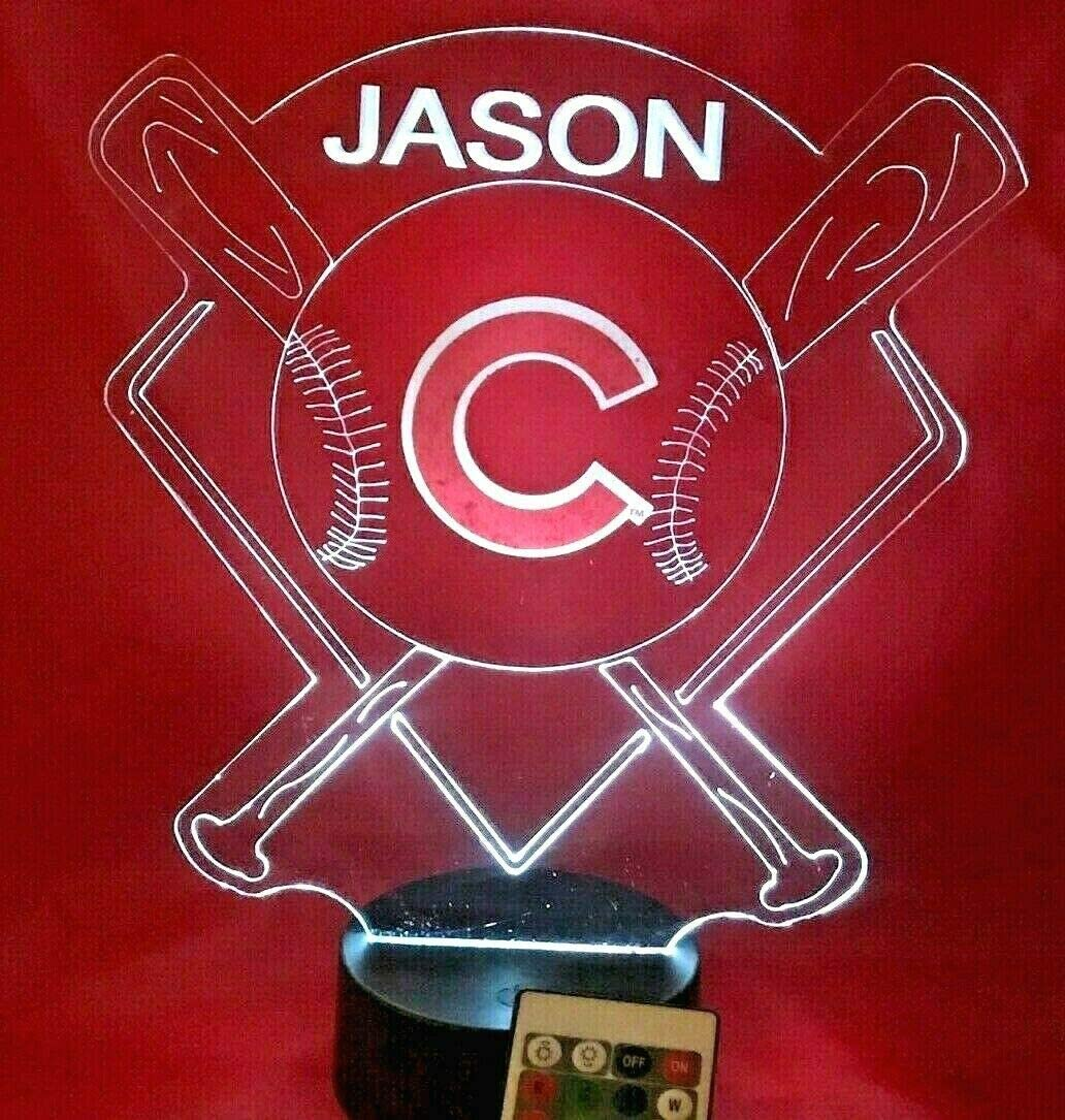 Cubs Baseball Licht nach oben Lamp geführt Remote Personalized Cubs Baseball Table Lamp, unsere Newest Feature - It'S Wow, Cubs Baseball mit Remote 16 Color Options, Dimmer, kostenlos Engraved groß Gift