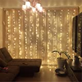 ZSTBT 300LED 9.84ft9.84ft/3m3m Window Curtain Lights Lights for Party Wedding Home Patio Lawn Garden (Warm white)