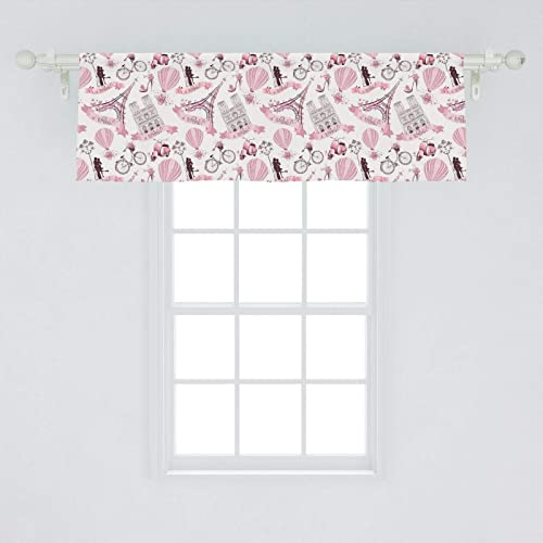Ambesonne Paris Window Valance, Valentines Day Theme with Eiffel Kissing Couple Hot Air Balloon Wedding Concept, Curtain Valance for Kitchen Bedroom Decor with Rod Pocket, 54 X 18 , Pink Rose
