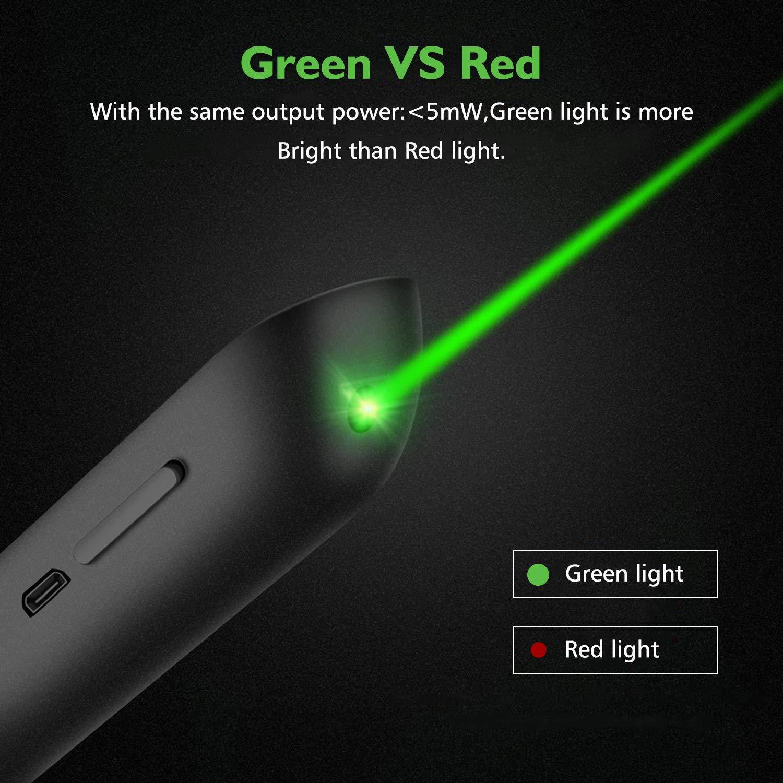 AMERTEER Wireless Presenter, Green Light Rechargeable Presentation Remote Powerpoint Clicker with Laser Pointer PPT Slides Clicker Support Hyperlink RF 2.4GHz