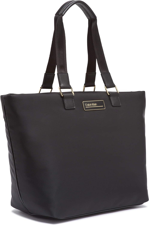 Calvin Klein Jaina Sac fourre-tout double poignée en nylon Noir/Or