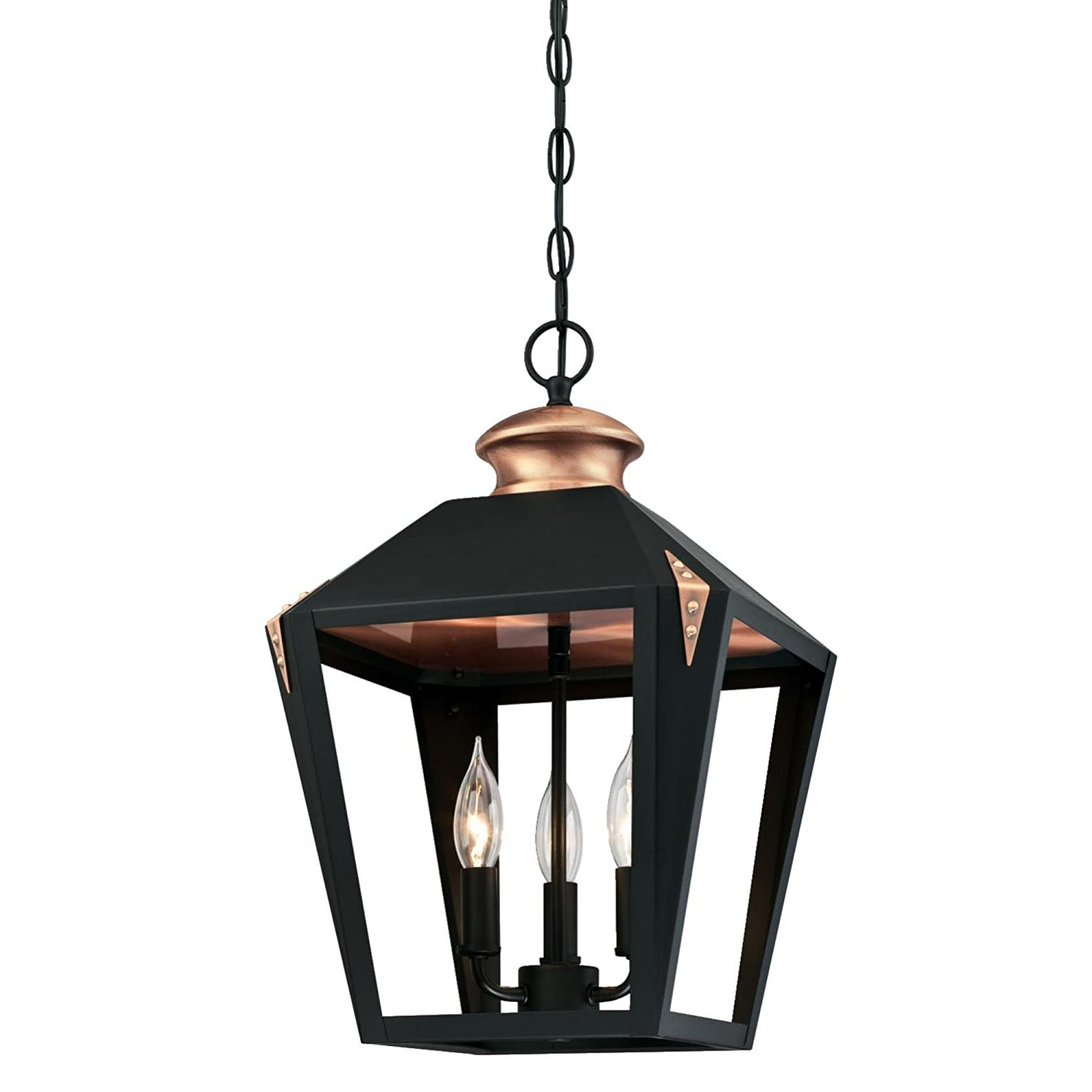 Westinghouse Lighting 6328500 Valley Forge Three-Light Indoor Pendant, Matte Black Finish with Copper Accents