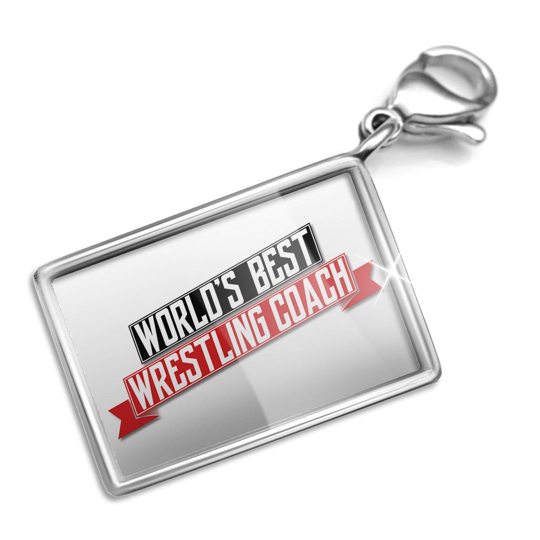 Clip on Charm & Bracelet Set Worlds Best Wrestling Coach Lobster Clasp