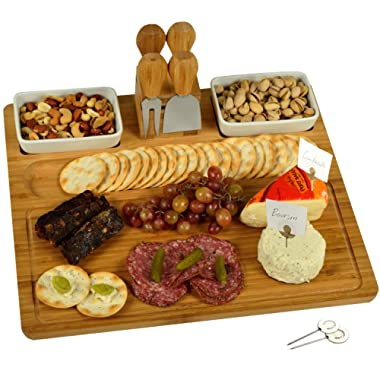 Picnic at Ascot Large Bamboo Cheese Board/Charcuterie Platter with 4 Stainless Steel Tools, 2 Ceramic Trays and 4 Cheese Markers - 16  x 13  - Designed & Quality Checked in the USA