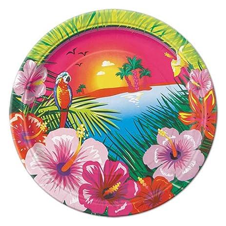 Hawaiian Luau Sunset Small Paper Plates (8ct)  sc 1 st  Amazon.com & Amazon.com: Hawaiian Luau Sunset Small Paper Plates (8ct): Toys \u0026 Games