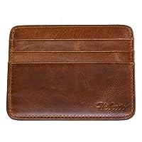 Hibate Leather Credit Card Holder Wallet Men Slim Front Pocket Case