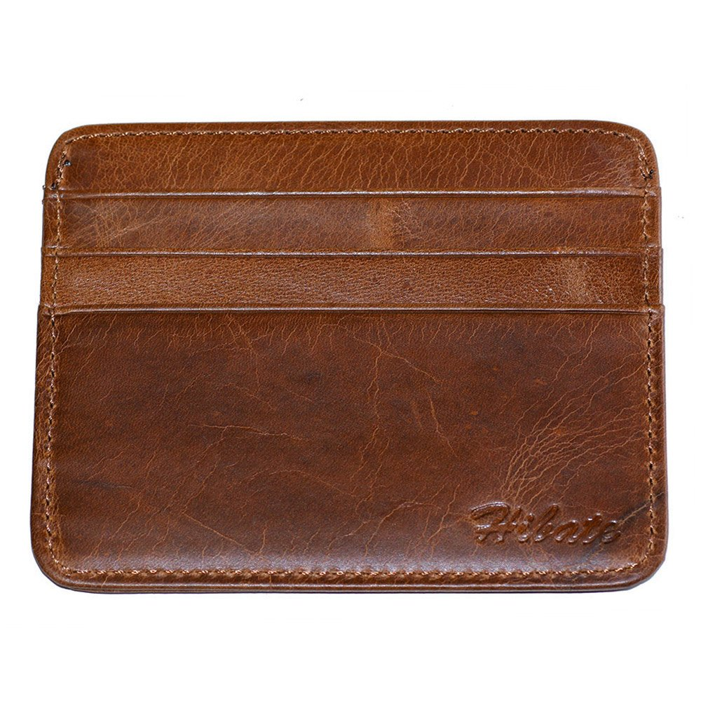 Hibate Men's Leather Credit Card Holder Wallet Case Mens Front Pocket Sleeve D029-BROA