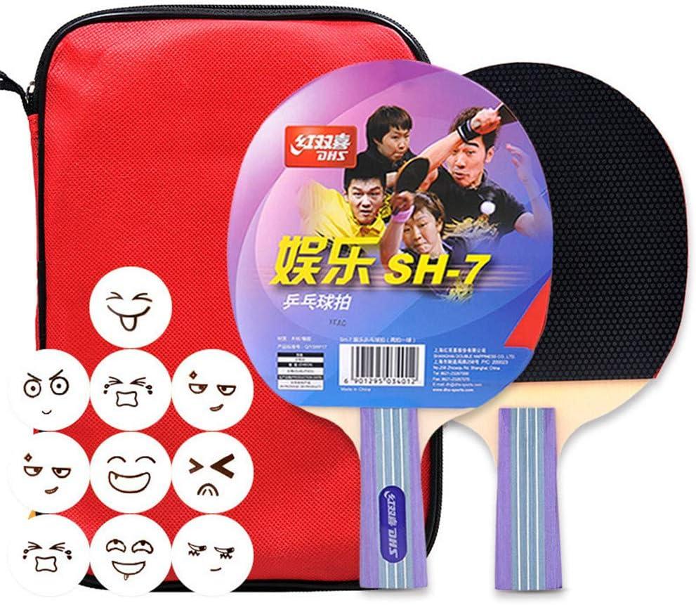 XFQ Conjuntos Mesa De Ping Pong, Raqueta De Ping-Pong Profesión De Madera Maciza 10 Bolas para Adultos Principiantes para Niños Estudiante Juego De Interior Al Aire Libre,Short Handle