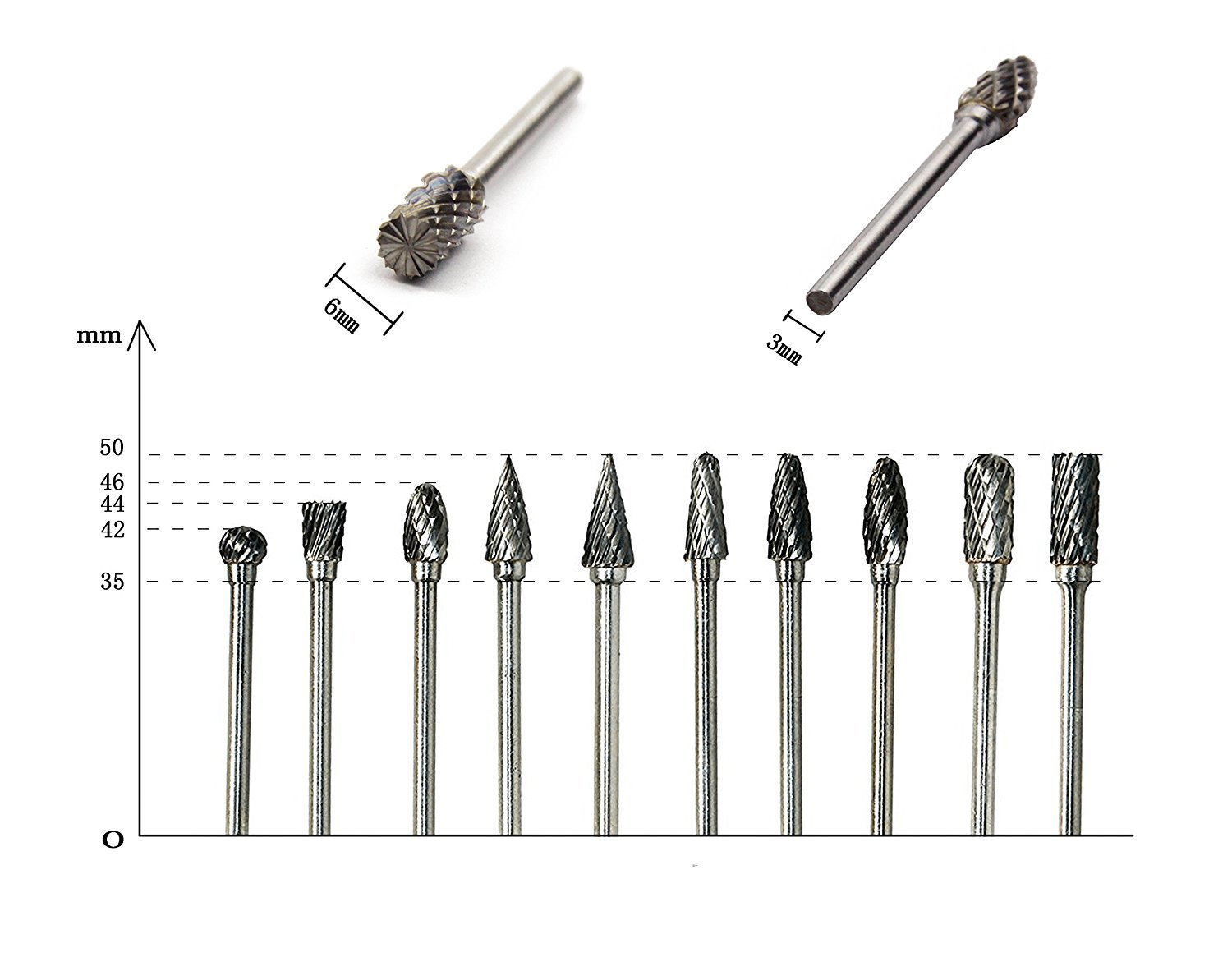 10 Pcs Double Cut Tungsten Steel Carbide Burrs for Dremel Rotary Tool Drill Bit 1/8'' Shank