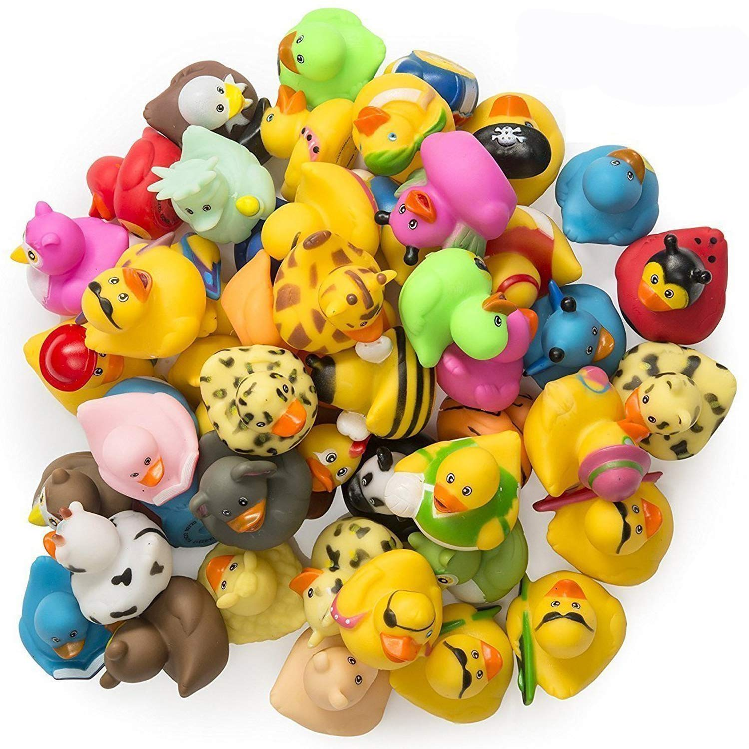 Kicko Rubber Ducks - 50 Assorted Pieces - 2 Inches - for Kids, Party Favors, Birthdays, Baby Showers, Baby Bath Toys, Bath Time, Easter Party Favors, ...