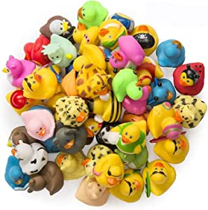 Kicko Assorted Rubber Ducks - 50 Pack - 2 Inches - for Kids, Sensory Play, Stress Relief, Novelty, Stocking Stuffers, Classroom Prizes, Decorations, Supplies, Holidays, Pinata Filler, and Rewards