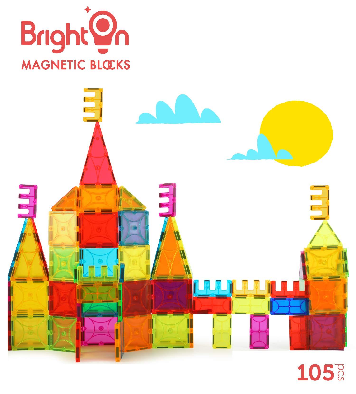 BrightOn Educational Kids Toys Magnetic Building Blocks, Creative Toys 3D Magnetic Blocks for Kids, Imagination Magnets Building Tiles for Children 105Pcs by BrightOn (Image #3)