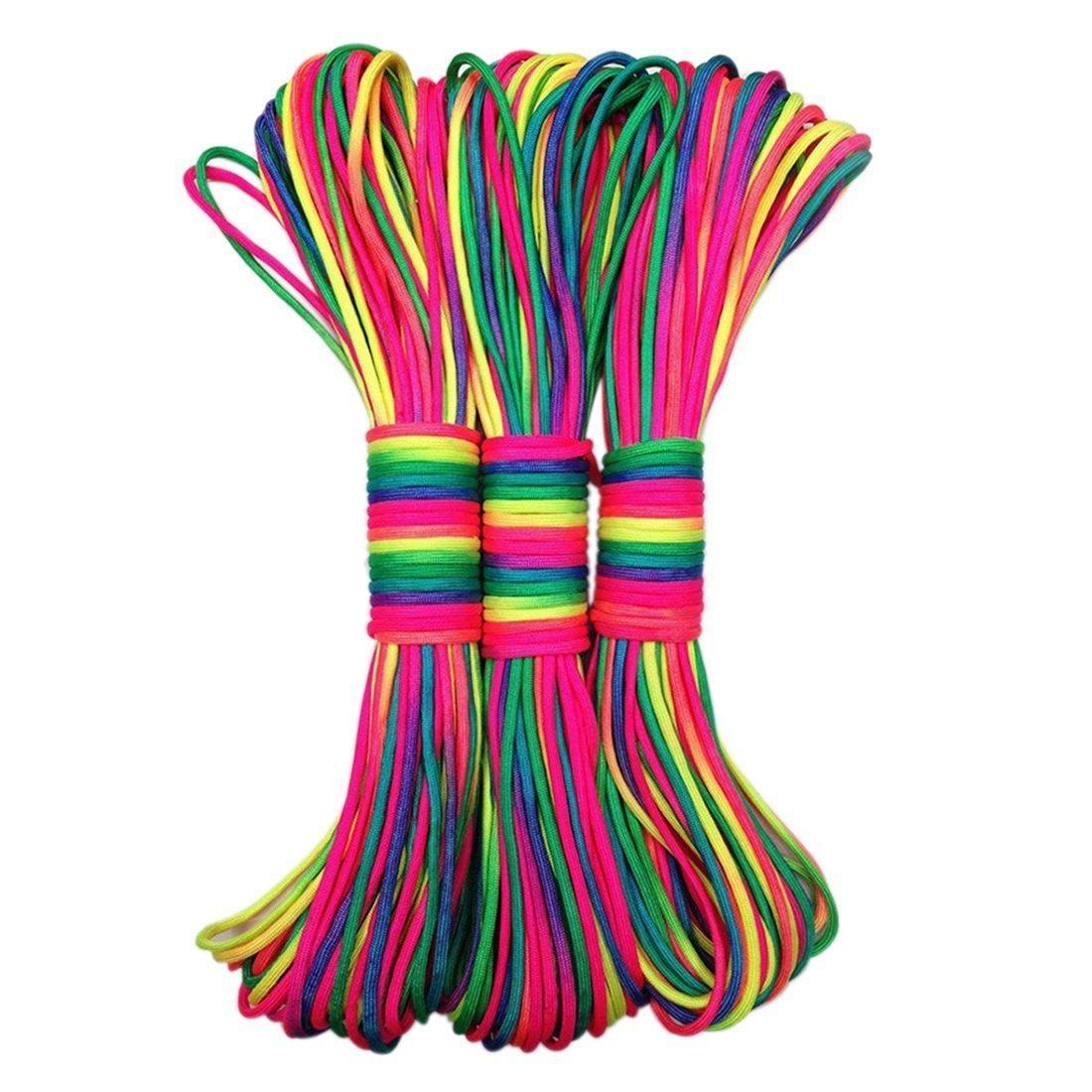 Leosi – 31 m langes Nylonseil in Regenbogenmuster, als Fallschirmschnur oder zum Flechten von Armbändern, aus 7 Strängen aus 7 Strängen 1 Stück