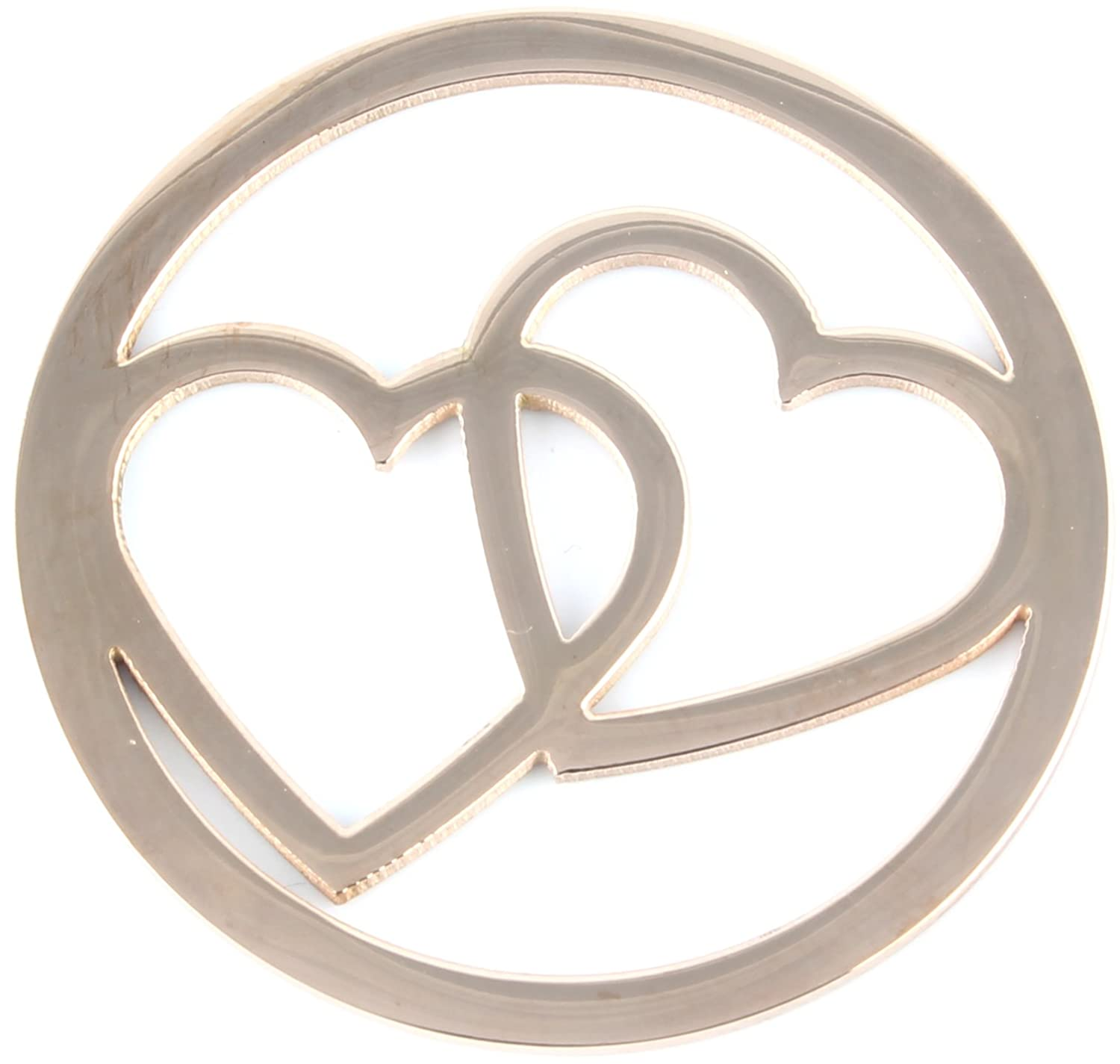 Milano Coin Disc For Milano Keeper Pendant Holder Locket Carrier Twin Hearts