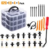 GOOACC 635Pcs Car Push Retainer Clips & Auto Fasteners Assortment -16 Most Popular Sizes Nylon Bumper Fender Rivets with 10 Cable Ties and Fasteners Remover for Toyota GM Ford Honda Acura Chrysler (Tamaño: 625Pcs Clips + 5 Fastener Remover)