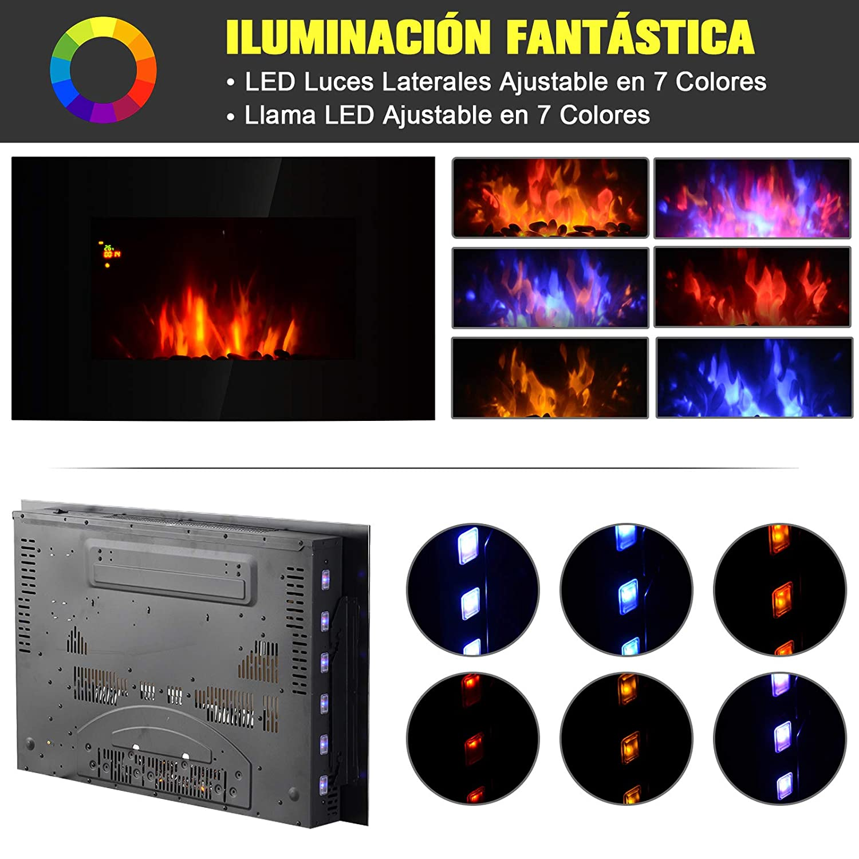 Homcom Chimenea El/éctrica de Pared Calefactor Estufa El/éctrica 1000//2000W Temporizador Termostato Auto-Control Llama LED 7 Color Mando a Distancia 90x9.5x56cm