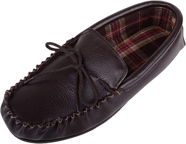 Leather Moccasin Slippers with