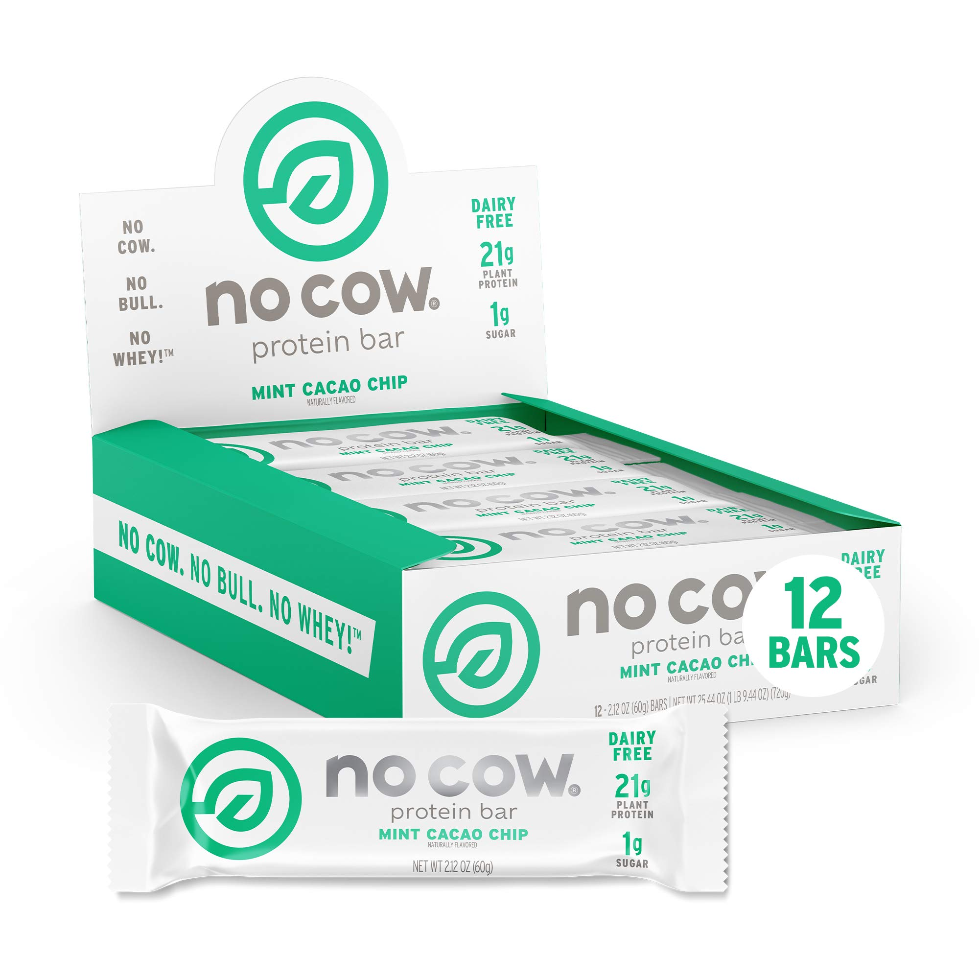No Cow Protein Bars, Mint Cacao Chip, 21g Plant Based Vegan Protein, Keto Friendly, Low Sugar, Low Carb, Low Calorie, Gluten Free, Naturally Sweetened, Dairy Free, Non GMO, Kosher, 12 Pack