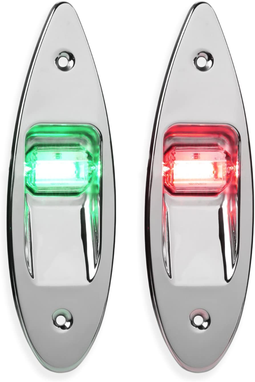 1 Mile Pair of Flush Mount Stainless Steel Red and Green Bow Navigation Lights