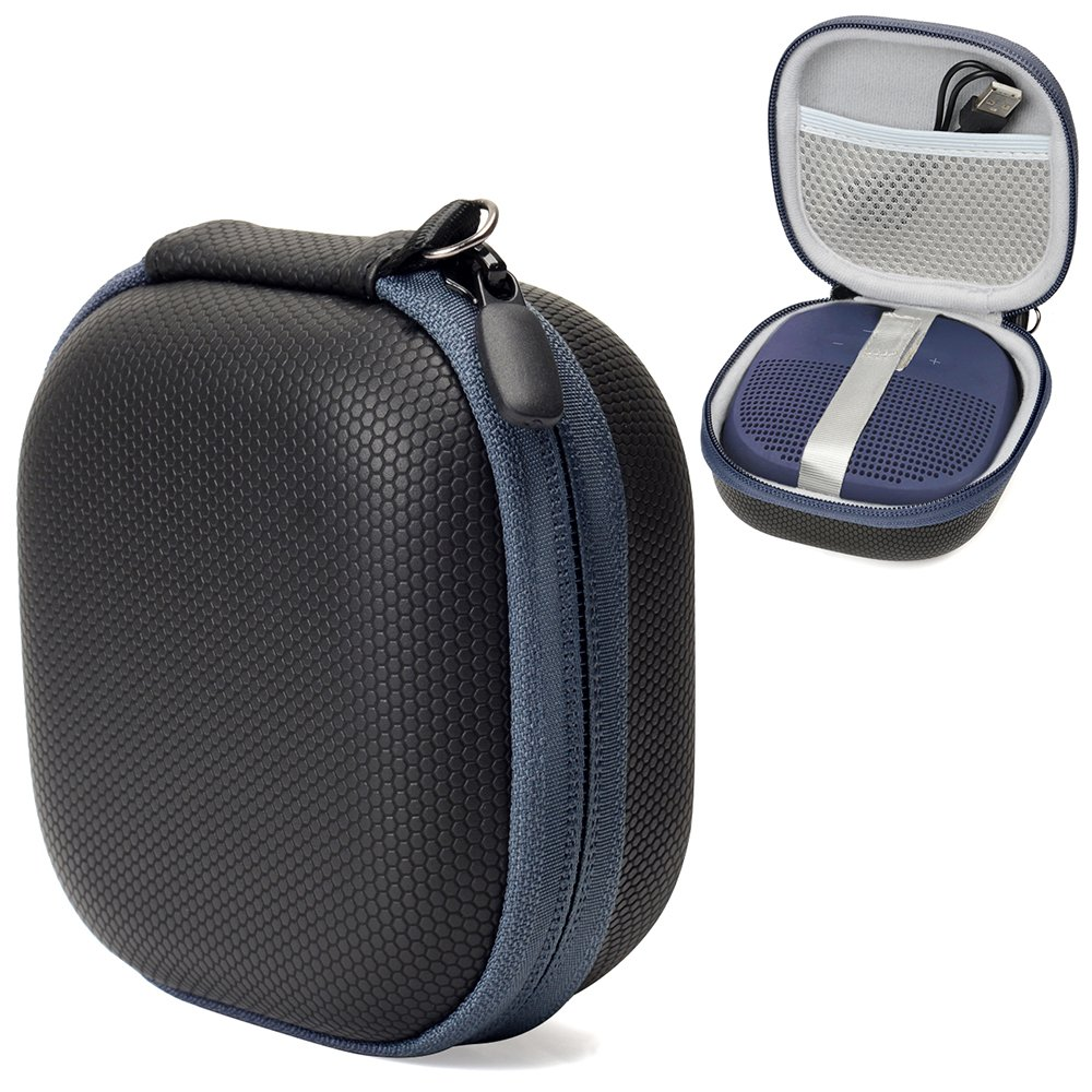 Hard EVA Travel case for Bose SoundLink Micro Bluetooth Speaker by CaseSack, mesh Pocket for Cable and Other Accessories, Elastic Strap to Secure The Speaker (Black with Blue Zipper)