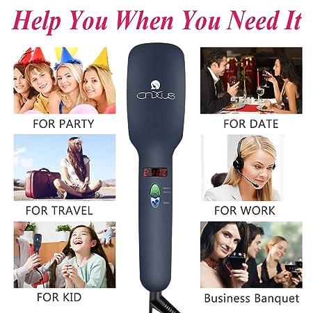 Cepillo de pelo alisador iónico, cepillo alisador por calor cerámico, pantalla LED + temperaturas ajustables + antiquemaduras, peine térmico para alisa, ...