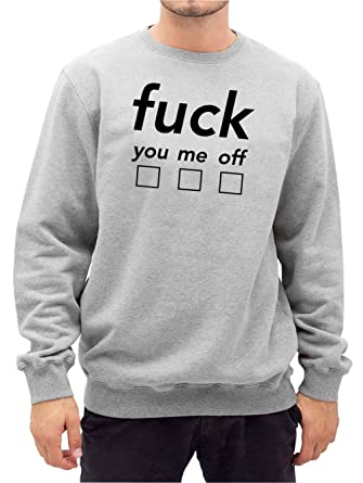 Fuck You Me Off Sweater Grey-M