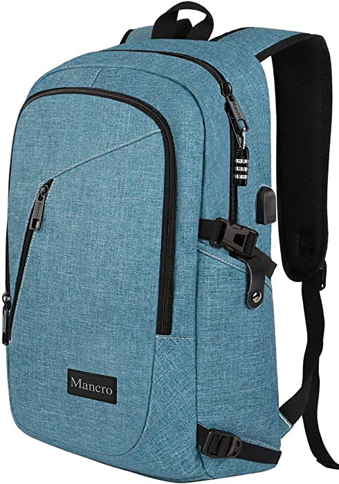 School Backpack for Women, Anti Theft College Student Backpack with USB Port, Slim Lightweight Laptop Backpack, Water Resistant Sturdy Carry On Rucksack for Work Campus Fit 15.6