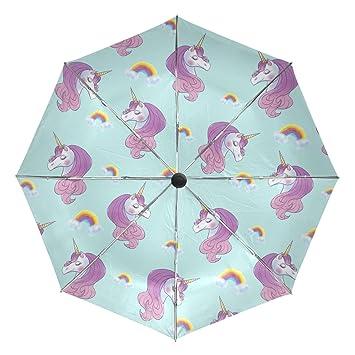 BENNIGIRY Paraguas de viaje resistente al viento Unicornio con cierre automático plegable fuerte compacto paraguas,